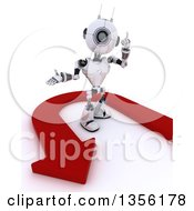 Clipart Of A 3d Futuristic Robot Holding Up A Finger And Standing In An Arrow On A Shaded White Background Royalty Free Illustration