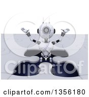 Clipart Of A 3d Futuristic Robot Popping Out Of A Giant Jigsaw Puzzle On A Shaded White Background Royalty Free Illustration by KJ Pargeter