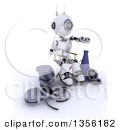 Clipart Of A 3d Futuristic Robot Movie Director Pointing Sitting In A Chair By A Bullhorn And Film Reels On A Shaded White Background Royalty Free Illustration