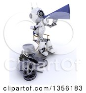 Clipart Of A 3d Futuristic Robot Movie Director Using A Bull Horn And Sitting In A Chair By Film Reels On A Shaded White Background Royalty Free Illustration