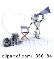 Clipart Of A 3d Futuristic Robot Movie Director Using A Bull Horn By A Chair And Film Reels On A Shaded White Background Royalty Free Illustration