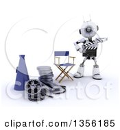 Clipart Of A 3d Futuristic Robot Movie Director Using A Clapper By A Chair Bull Horn And Film Reels On A Shaded White Background Royalty Free Illustration