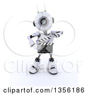 Clipart Of A 3d Futuristic Robot Movie Director Using A Clapper Board On A Shaded White Background Royalty Free Illustration