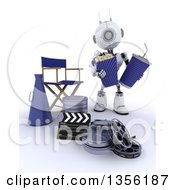 Clipart Of A 3d Futuristic Robot Holding Popcorn And A Soda By A Directors Chair Movie Reels And A Bullhorn On A Shaded White Background Royalty Free Illustration
