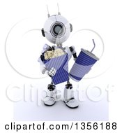 Clipart Of A 3d Futuristic Robot Carrying Movie Popcorn And A Fountain Soda On A Shaded White Background Royalty Free Illustration