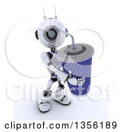 Clipart Of A 3d Futuristic Robot Carrying A Giant Fountain Soda On A Shaded White Background Royalty Free Illustration