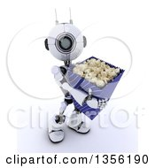 Clipart Of A 3d Futuristic Robot Carrying A Giant Bucket Of Popcorn On A Shaded White Background Royalty Free Illustration