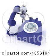 Clipart Of A 3d Futuristic Robot Using A Giant Landline Telephone On A Shaded White Background Royalty Free Illustration
