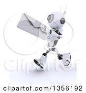 3d Futuristic Robot Running And Holding Out An Envelope On A Shaded White Background