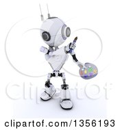 Clipart Of A 3d Futuristic Robot Holding A Paintbrush And Palette On A Shaded White Background Royalty Free Illustration by KJ Pargeter