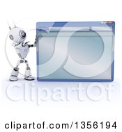 Clipart Of A 3d Futuristic Robot Pointing To A Giant Computer Window On A Shaded White Background Royalty Free Illustration