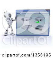 Clipart Of A 3d Futuristic Robot Pointing To A Giant Computer Window With Drives On A Shaded White Background Royalty Free Illustration