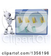 Clipart Of A 3d Futuristic Robot Pointing To A Giant Computer Window With Folders On A Shaded White Background Royalty Free Illustration