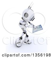 Clipart Of A 3d Futuristic Robot Holding A Touchscreen Computer Window On A Shaded White Background Royalty Free Illustration by KJ Pargeter