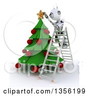 Clipart Of A 3d Futuristic Robot Standing On A Ladder And Decorating A Christmas Tree On A Shaded White Background Royalty Free Illustration