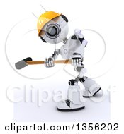 Clipart Of A 3d Futuristic Robot Construction Worker Contractor Swinging A Sledgehammer On A Shaded White Background Royalty Free Illustration by KJ Pargeter