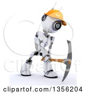 Clipart Of A 3d Futuristic Robot Construction Worker Contractor Using A Pickaxe On A Shaded White Background Royalty Free Illustration