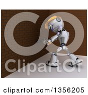Clipart Of A 3d Futuristic Robot Construction Worker Contractor Demolishing A Brick Wall With A Sledgehammer Royalty Free Illustration by KJ Pargeter