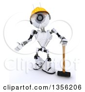 Clipart Of A 3d Futuristic Robot Construction Worker Contractor Standing With A Sledgehammer On A Shaded White Background Royalty Free Illustration by KJ Pargeter