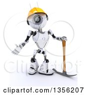 Clipart Of A 3d Futuristic Robot Construction Worker Contractor Standing With A Pickaxe On A Shaded White Background Royalty Free Illustration