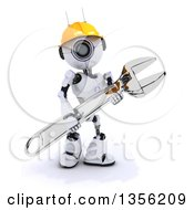 Clipart Of A 3d Futuristic Robot Construction Worker Contractor Carrying An Adjustable Wrench On A Shaded White Background Royalty Free Illustration