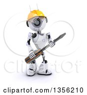 Clipart Of A 3d Futuristic Robot Construction Worker Contractor Holding A Screwdriver On A Shaded White Background Royalty Free Illustration