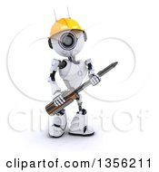 Clipart Of A 3d Futuristic Robot Construction Worker Contractor Holding A Phillips Screwdriver On A Shaded White Background Royalty Free Illustration