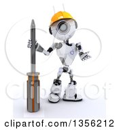 Clipart Of A 3d Futuristic Robot Construction Worker Contractor With A Phillips Screwdriver On A Shaded White Background Royalty Free Illustration