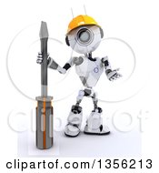 Clipart Of A 3d Futuristic Robot Construction Worker Contractor With A Screwdriver On A Shaded White Background Royalty Free Illustration