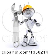 Clipart Of A 3d Futuristic Robot Construction Worker Contractor With An Adjustable Wrench On A Shaded White Background Royalty Free Illustration
