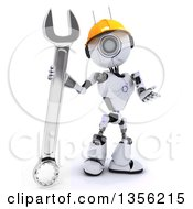 Clipart Of A 3d Futuristic Robot Construction Worker Contractor With A Wrench On A Shaded White Background Royalty Free Illustration