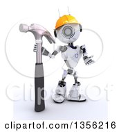 Clipart Of A 3d Futuristic Robot Construction Worker Contractor With A Hammer On A Shaded White Background Royalty Free Illustration