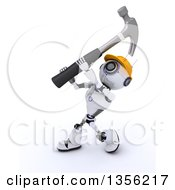 Clipart Of A 3d Futuristic Robot Construction Worker Contractor Swinging A Hammer On A Shaded White Background Royalty Free Illustration