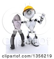 Clipart Of A 3d Futuristic Robot Construction Worker Contractor With Pliers On A Shaded White Background Royalty Free Illustration