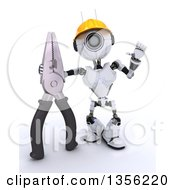 Clipart Of A 3d Futuristic Robot Construction Worker Contractor With Pliers On A Shaded White Background Royalty Free Illustration by KJ Pargeter