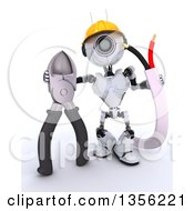 Clipart Of A 3d Futuristic Robot Construction Worker Contractor With Cables And Pliers On A Shaded White Background Royalty Free Illustration