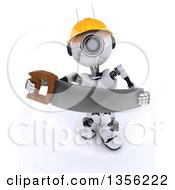 Clipart Of A 3d Futuristic Robot Construction Worker Contractor With A Saw On A Shaded White Background Royalty Free Illustration by KJ Pargeter