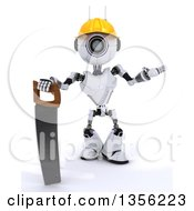 Clipart Of A 3d Futuristic Robot Construction Worker Contractor With A Saw On A Shaded White Background Royalty Free Illustration