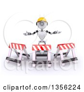 Clipart Of A 3d Futuristic Robot Construction Worker Contractor With Barriers On A Shaded White Background Royalty Free Illustration