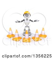Clipart Of A 3d Futuristic Robot Construction Worker Contractor With Cones On A Shaded White Background Royalty Free Illustration