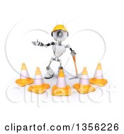 Clipart Of A 3d Futuristic Robot Construction Worker Contractor With A Pickaxe And Cones On A Shaded White Background Royalty Free Illustration