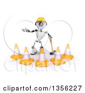 Clipart Of A 3d Futuristic Robot Construction Worker Contractor With A Sledgehammer And Cones On A Shaded White Background Royalty Free Illustration