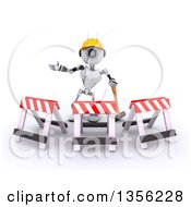 Clipart Of A 3d Futuristic Robot Construction Worker Contractor With A Sledgehammer And Barriers On A Shaded White Background Royalty Free Illustration