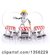 Clipart Of A 3d Futuristic Robot Construction Worker Contractor With A Pickaxe And Barriers On A Shaded White Background Royalty Free Illustration