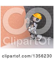 Clipart Of A 3d Futuristic Robot Construction Worker Contractor Applying Plaster Over A Stone Wall Royalty Free Illustration