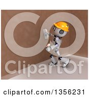 Clipart Of A 3d Futuristic Robot Construction Worker Contractor Applying Plaster Royalty Free Illustration