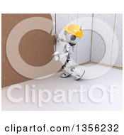 3d Futuristic Robot Construction Worker Contractor Applying Plaster Over Drywall