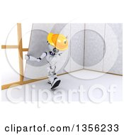 Clipart Of A 3d Futuristic Robot Construction Worker Contractor Installing Drywall On A Shaded White Background Royalty Free Illustration
