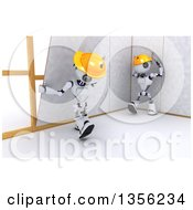 Clipart Of 3d Futuristic Robot Construction Worker Contractors Installing Drywall On A Shaded White Background Royalty Free Illustration
