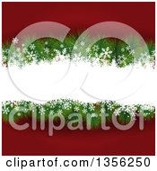 Clipart Of A Christmas Background With Fir Tree Branches And Snow Over Red Royalty Free Vector Illustration